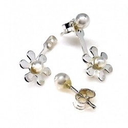 Pendiente flor Perla Plata
