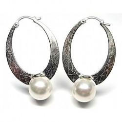 Pendiente aro perla Plata