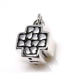 Colgante Cruz corazones Plata