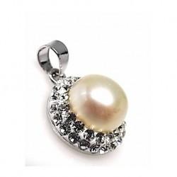 Colgante Perla Simil Plata