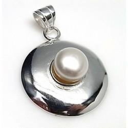 Colgante Perla Botón Plata