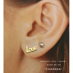 Pendiente Love Chatón Plata