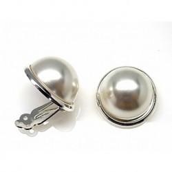 Pendiente M/perla Plata 16mm