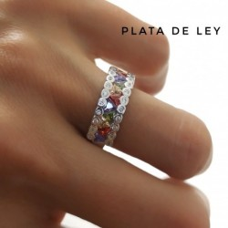 Anillo Piedra Color Plata