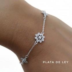 Pulsera Flores de Plata