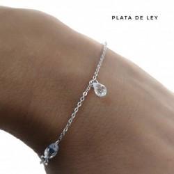 Pulsera Stone de Cristal Plata