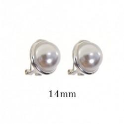 Pendiente Perla Plata 14mm