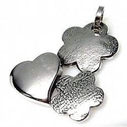 Colgante Corazón Flores Plata