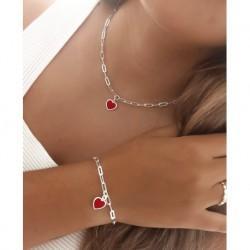 Collar Corazón Rojo Plata