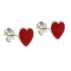 Pendiente Corazón Rojo Plata